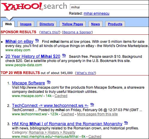 "Yahoo! search results for ""mihai"""