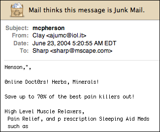 "Spam message with the subject ""mcpherson"""
