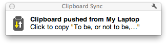 Clipboard Sync notification