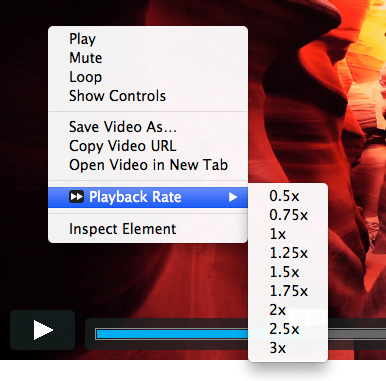 Playback Rate extension screenshot